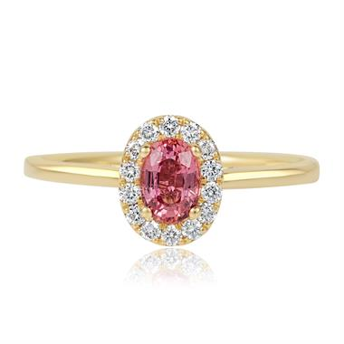 18ct Yellow Gold Oval Padparadscha Sapphire and Diamond Halo Engagement Ring thumbnail