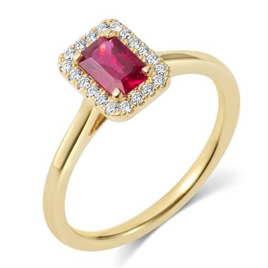 18ct Yellow Gold Emerald Cut Ruby and Diamond Halo Engagement Ring thumbnail