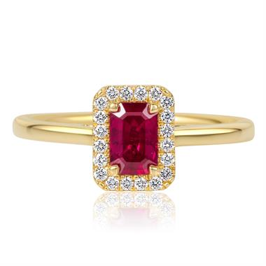 18ct Yellow Gold Emerald Cut Ruby Halo Diamond Ring thumbnail