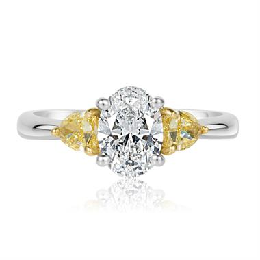 Platinum Oval and Yellow Fancy Cut Diamond Three Stone Engagement Ring 1.96ct thumbnail