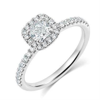 Platinum Floating Cushion Cut 0.85ct Diamond Halo Ring thumbnail