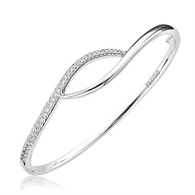 18ct White Gold Crossover Diamond Bangle thumbnail