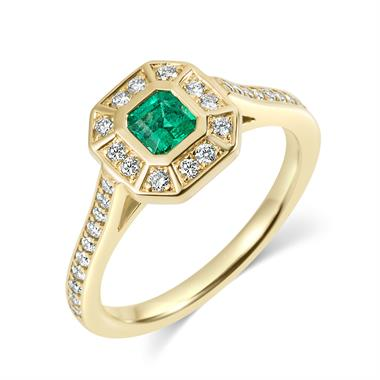 18ct Yellow Gold Art-Deco Style Emerald Ring thumbnail