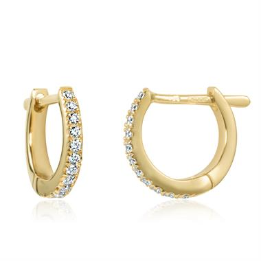 18ct Yellow Gold Diamond Small Hoop Earrings thumbnail
