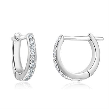 18ct White Gold Diamond Hoop Earrings 0.12ct thumbnail