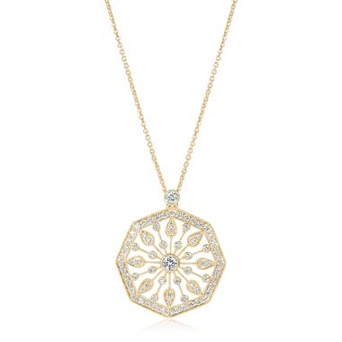 18ct Yellow Gold Disc Design Diamond Necklace 0.80ct thumbnail