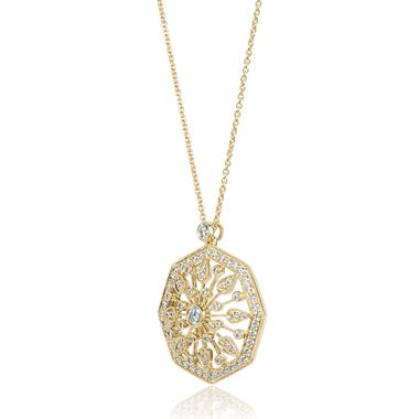 18ct Yellow Gold Vintage Style Diamond Octagon Necklace thumbnail