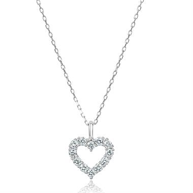 18ct White Gold Open Heart Design Diamond Necklace 0.16ct thumbnail