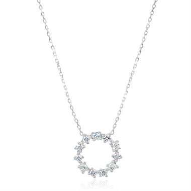 18ct White Gold Circle Design Diamond Necklace 0.16ct thumbnail
