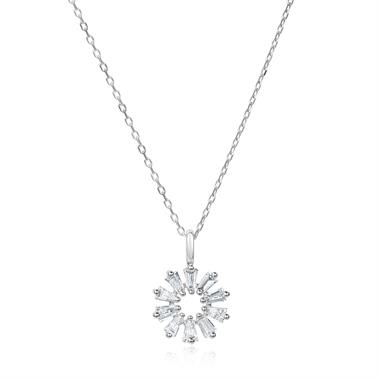 18ct White Gold Baguette Diamond Necklace 0.16ct thumbnail