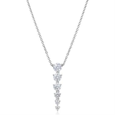 18ct White Gold Small Diamond Drop Necklace thumbnail