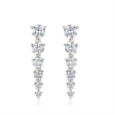 18ct White Gold Small Diamond Drop Earrings thumbnail