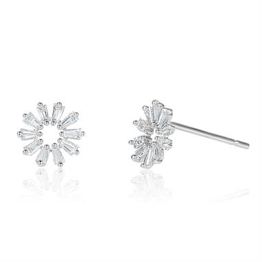 18ct White Gold Baguette Cut Diamond Stud Earrings 0.28ct thumbnail