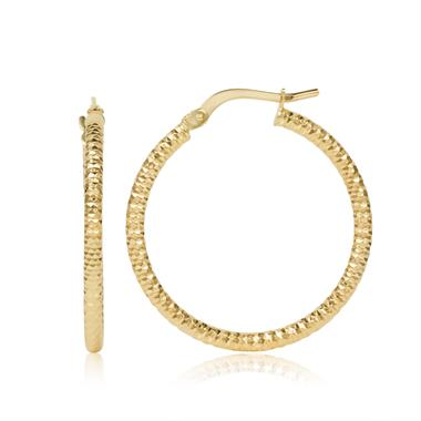18ct Yellow Gold Facet Detail Hoop Earrings 25mm thumbnail
