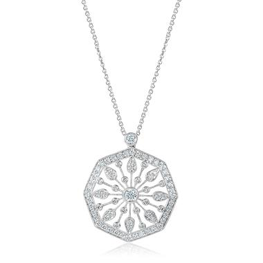 18ct White Gold Disc Design Diamond Necklace 0.80ct thumbnail