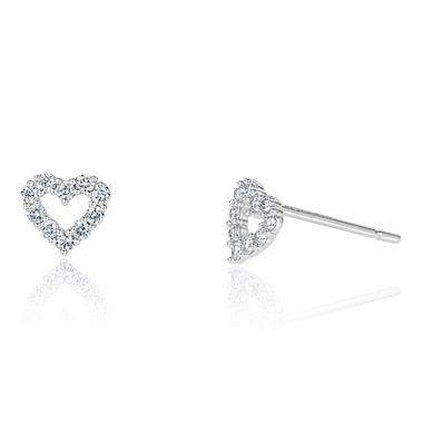 White Gold Diamond Open Heart Earrings thumbnail