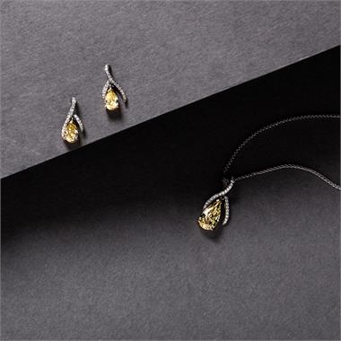 Gemini 18ct White Gold Yellow and White Diamond Drop Earrings 1.12ct thumbnail
