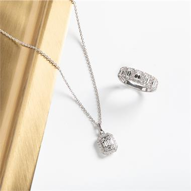 Odyssey 18ct White Gold Emerald Cut Diamond Illusion Necklace thumbnail