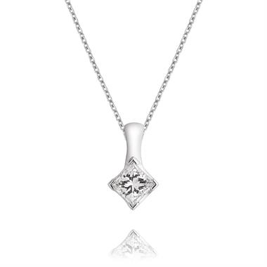 18ct White Gold Princess Cut Diamond Solitaire Pendant thumbnail