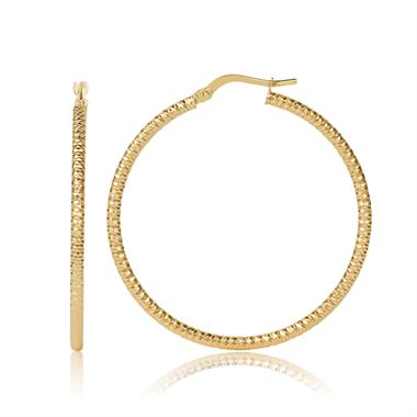 18ct Yellow Gold Facet Detail Hoop Earrings 35mm thumbnail