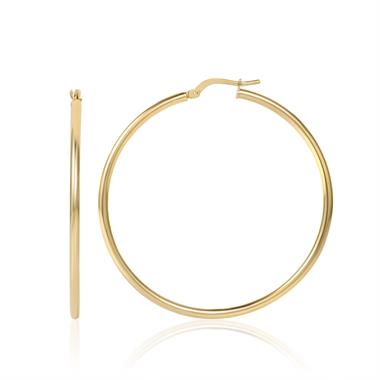 18ct Yellow Gold 45mm Plain Hoop Earrings thumbnail