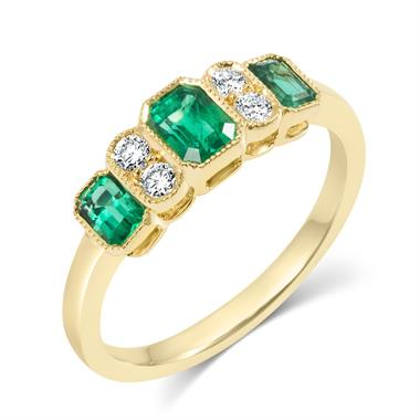 18ct Yellow Gold Milgrain Detail Emerald and Diamond Dress Ring thumbnail