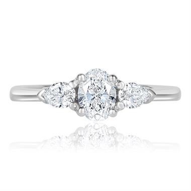 Platinum Oval and Pear Shape Diamond Three Stone Engagement Ring 0.76ct thumbnail