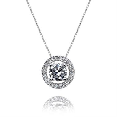 18ct White Gold Diamond Circle Cluster Pendant thumbnail