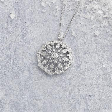 18ct White Gold Vintage Style Diamond Octagon Necklace thumbnail