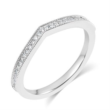 Platinum Milgrain Detail Diamond Set Shaped Wedding Ring 0.20ct thumbnail