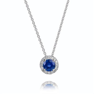 Camellia 18ct White Gold 0.40ct Sapphire and Diamond Necklace thumbnail