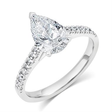 Platinum Pear Shape Diamond Solitaire Engagement Ring 1.70ct thumbnail