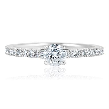 Platinum Round 0.65ct Open Solitaire Diamond Ring thumbnail