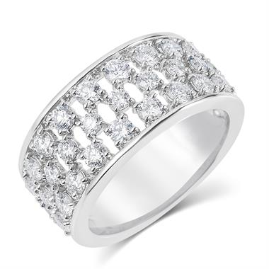 18ct White Gold Lattice Design Diamond Dress Ring 1.58ct thumbnail