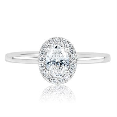 Platinum Oval Diamond Halo Engagement Ring 0.65ct thumbnail