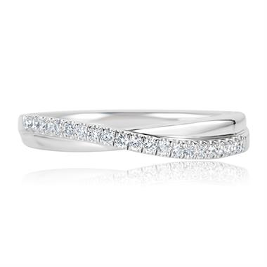Platinum Diamond Set Crossover Design Wedding Ring 0.18ct thumbnail