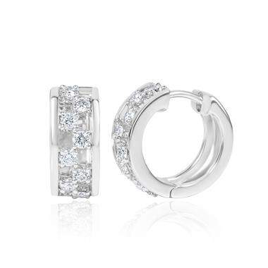 18ct White Gold Diamond Hoop Earrings 0.55ct thumbnail