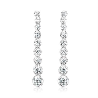 Elegant 18ct White Gold Graduating 0.82ct Diamond Drop Earrings thumbnail