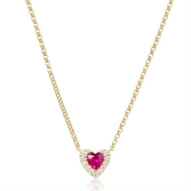 18ct Yellow Gold Heart Shape Ruby and Diamond Necklace thumbnail
