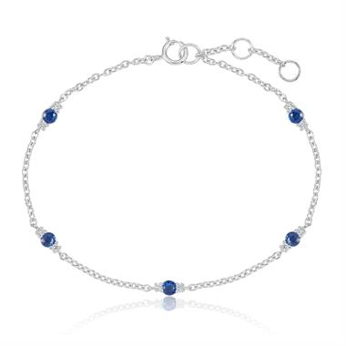 18ct White Gold Sapphire and Diamond Station Bracelet thumbnail