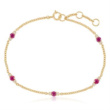 18ct Yellow Gold Ruby and Diamond Station Bracelet thumbnail