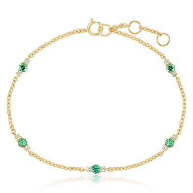 18ct Yellow Gold Emerald and Diamond Station Bracelet thumbnail