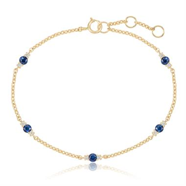 18ct Yellow Gold Sapphire and Diamond Station Bracelet thumbnail