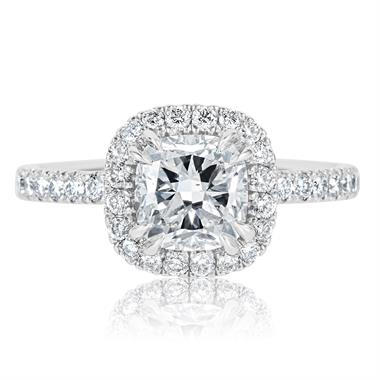Platinum Cushion Cut Diamond Halo Engagement Ring 2.05ct thumbnail