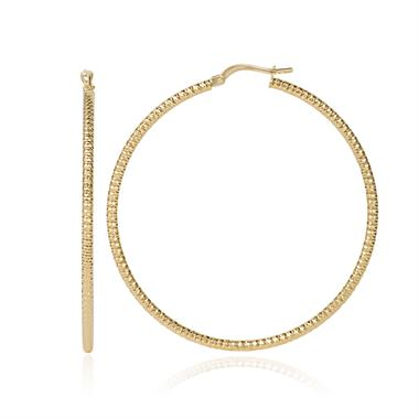 18ct Yellow Gold 45mm Sparkle Hoop Earrings thumbnail
