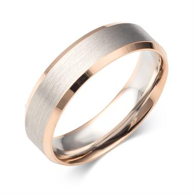 Palladium and 18ct Rose Gold Bevel Detail Wedding Ring thumbnail