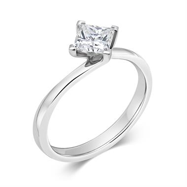 Platinum Twist Design Princess Cut Diamond Solitaire Engagement Ring 0.50ct thumbnail