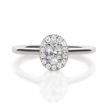 Platinum Oval Shape 0.45ct Diamond Halo Ring 