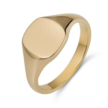 9ct Yellow Gold Cushion Signet Ring thumbnail