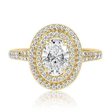 18ct Yellow Gold Oval Diamond Double Halo Engagement Ring 1.50ct thumbnail
